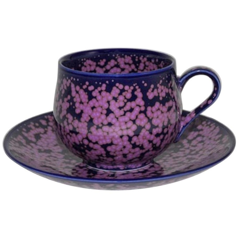Japanese Hand-Glazed Blue Pink Porcelain Cup and Saucer by Master Artist