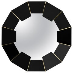 Luxxu Darian Mirror with Black Lacquer and Brass Detailed Frame