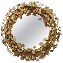 Luxxu McQueen Brass and Gold Finish Round Mirror with Swarovski Crystal Detail