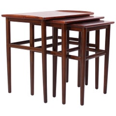 Midcentury Danish Rosewood Nesting Tables with Elevated Edges