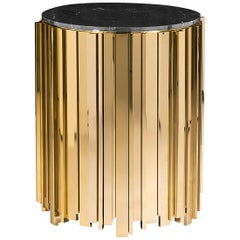 Luxxu Empire Small Side Table with Brass Base and Nero Marquina Marble Top