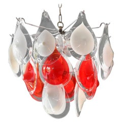 Beautiful Original 1960s Vistosi Chandelier with White and Red Murano Glas Drops