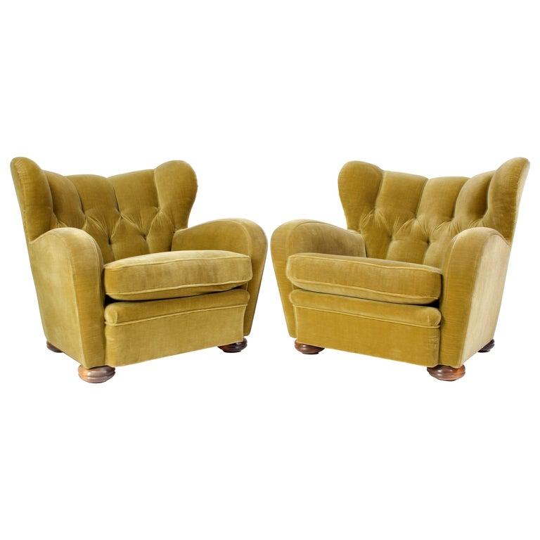 Pair of Midcentury Scandinavian, 1940s Lounge Chairs