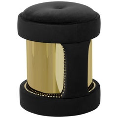 Luxxu Armour Round Stool in Black Cotton Velvet and Gold-Plated Brass