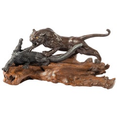 Unusual Meiji Period Bronze of a Tiger and an Alligator by Genryusai Seiya