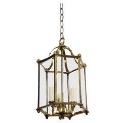 French Brass Triple Light Hall Lantern