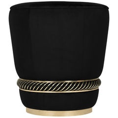 Luxxu Noir Stool with Brass Details and Black Velvet Upholstery