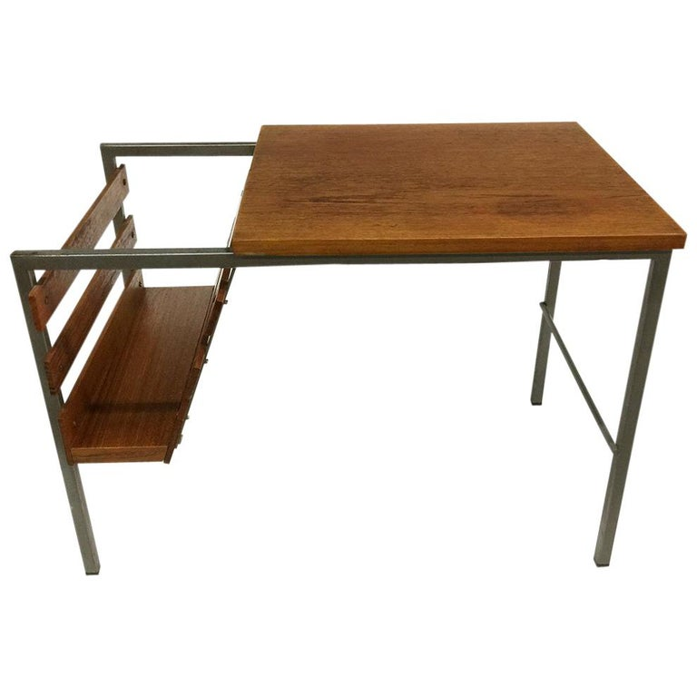 Teak Side Table with Magazine Rack