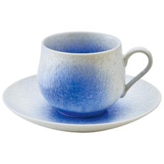Japanese Hand-Glazed Blue Porcelain Cup and Saucer by Master Artist, 2018