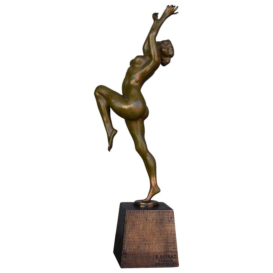 Art Deco Bronze Nude Dancer by Calot, 1930