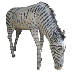 Painted Concrete Zebra Coming from a Normandy Zoo, circa 1900
