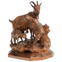 Black Forest Wood Carving of a Mountain Goat
