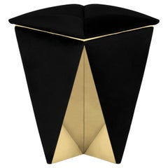 Luxxu Prisma Stool with Black Velvet Seat and Brass Details