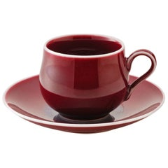 Contemporary Imari Hand-Glazed Red Porcelain Cup and Saucer by Master Artist