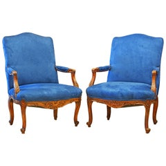 Pair of 19th Century French Provincial Carved Walnut Open Armchairs