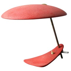 Italian Mid-Century Modernist Table Lamp with Red Shrink Varnish