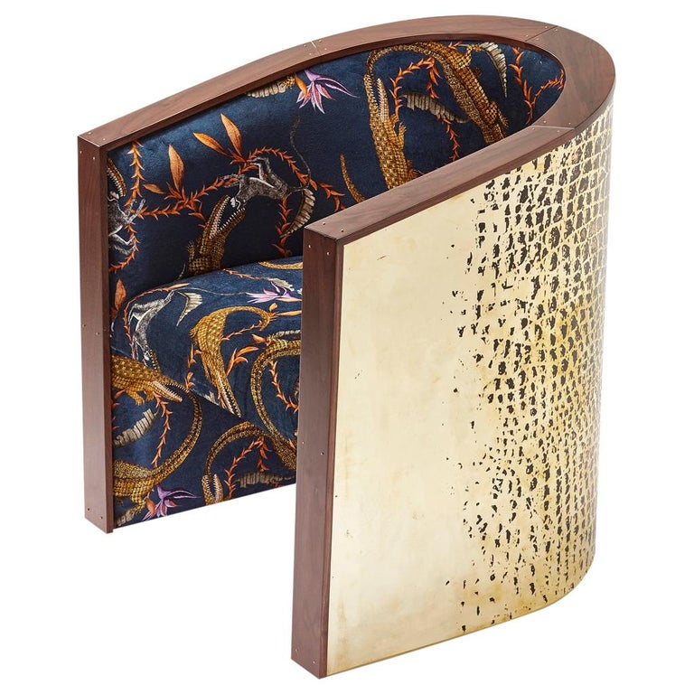 Etched Brass, Walnut Timber and Ardmore Fabric Big Crocco Chair by Egg Desings