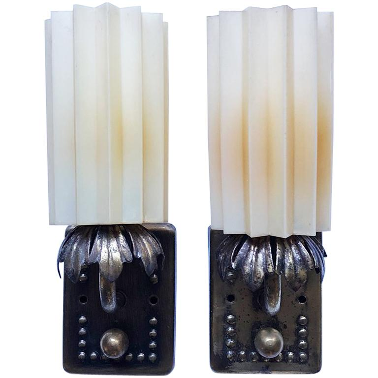 Hard Wired Art Deco Sconces, Starburst Shades of Resin & Turn Knob Switch, Pair