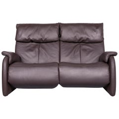 Himolla Designer Sofa Brown Leather Two-Seat Couch Recliner