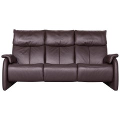 Himolla Designer Sofa Brown Leather Three-Seat Couch