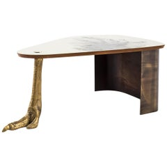 Cast Brass, Etched Brass and Burnished Steel Ostrich Coffee Table by Egg Designs