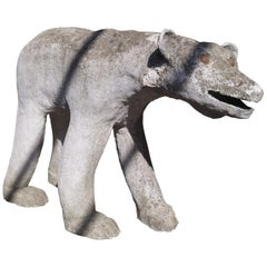 Painted Concrete Bear Coming from a Normandy Zoo, France, circa 1900