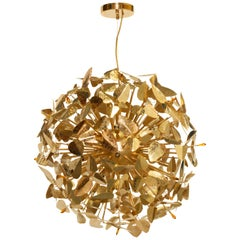 Luxxu McQueen Hammered Brass Globe Pendant Light with Amber Swarovski Crystals