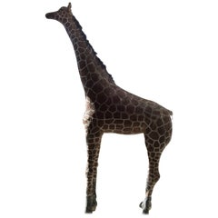 Painted Concrete Giraffe Coming from a Normandy Zoo, France, circa 1900