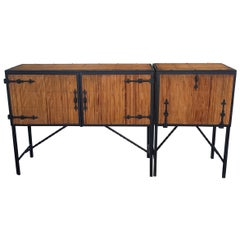 Beautiful French Sideboard circa 1950 in 2 Parts, Bamboo and Metal