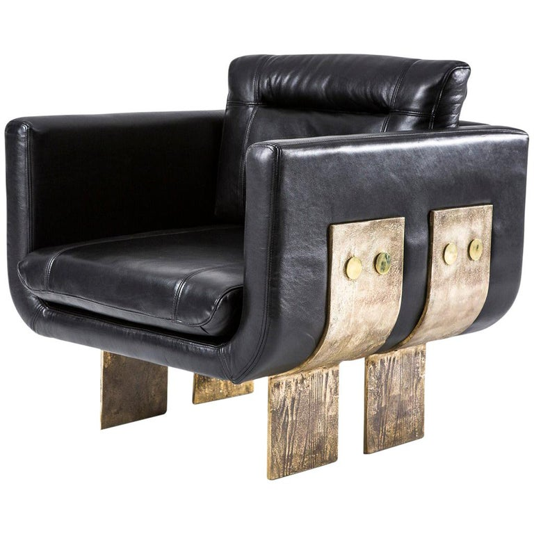 Cast Brass and Leather Primal Lounge Chair by Egg Designs For Sale