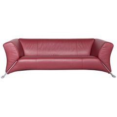 Rolf Benz 322 Designer Sofa Red Three-Seat Leather Couch