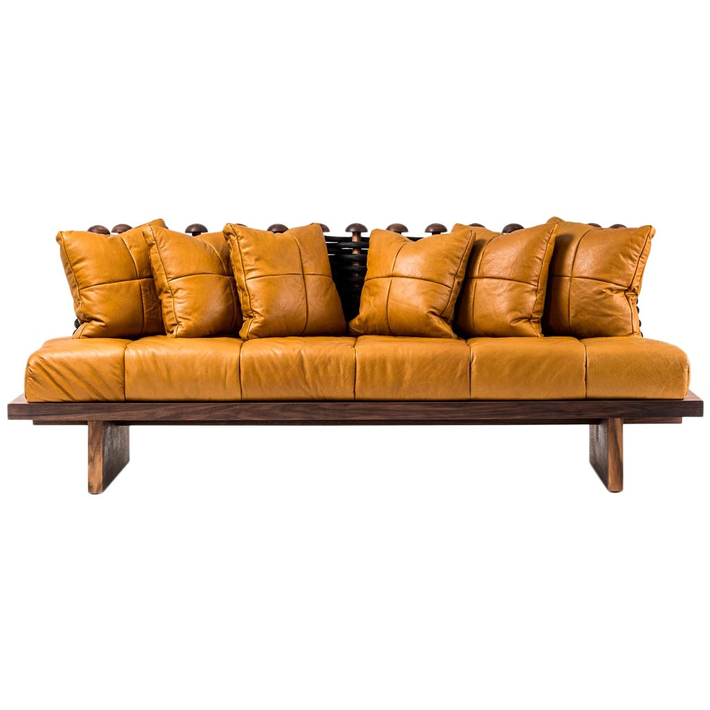 Leather, Walnut and Rope Shaker Sofa by Egg Designs