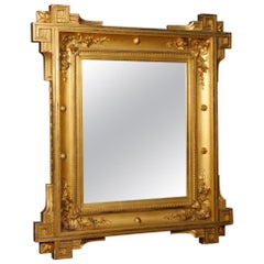 19th Century Gold Wood and Plaster French Mirror, 1880