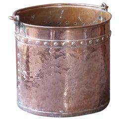 18th Century Dutch Polished Copper Log Holder of Log Basket