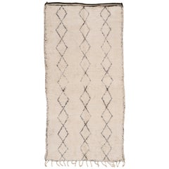 Outstanding Mid-Century Modern Ivory/Black Moroccan Berber Beni Ouarain Rug