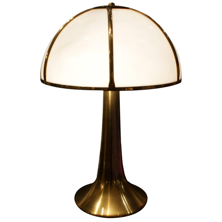 """Gabriella Crespi,  """"Fungo"""", Brushed Brass and Perspex Table Lamp, 1970"""