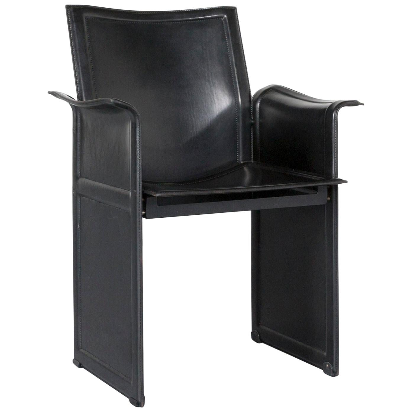 Matteo Grassi Korium KM1 Leather Chair Black One Seat