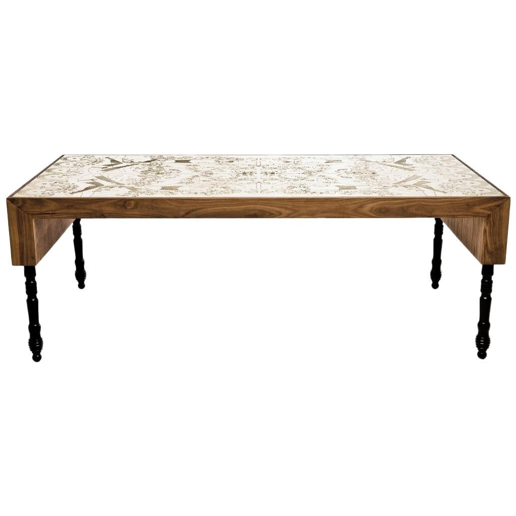 Engraved Brass, Walnut, And Lacquered Wood Burlesque Dining Table By Egg  Designs For Sale