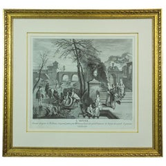 18th Century Graphic Entitled Winter by Antoine Watteau, Engraver Nicolas Larme