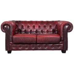 Chesterfield Leather Sofa Red Two-Seat Vintage Couch
