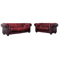 Chesterfield Leather Sofa Set Red Two-Seat Three-Seat Vintage Couch