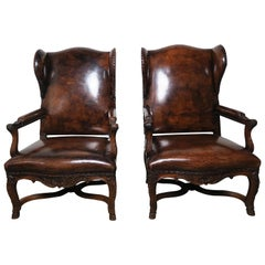 Pair of Regency Style French Leather Wing-Back Armchairs
