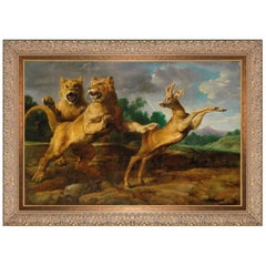 Two Lionesses Hunting a Roebuck, after Baroque Oil Painting by Frans Snyders