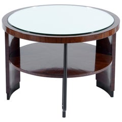 Art Deco Italian Rationalist Round Side Table Mirror Top, 1930