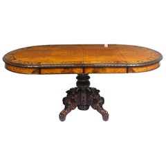 Antique Pollard Oak and Marquetry Oval Victorian Dining Table, 19th Century