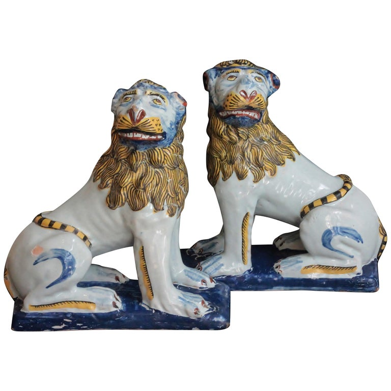 Pair of Lions in Faience of Rouen 'France', circa 1760