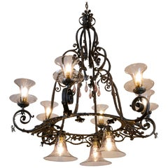 20th Century Italian Hand-Forged Wrought Iron Chandelier Murano Glass Nine-light
