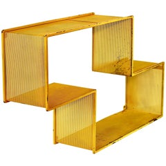 Industrial Vintage Midcentury Perforated Yellow Metal Bookshelf or Shelves