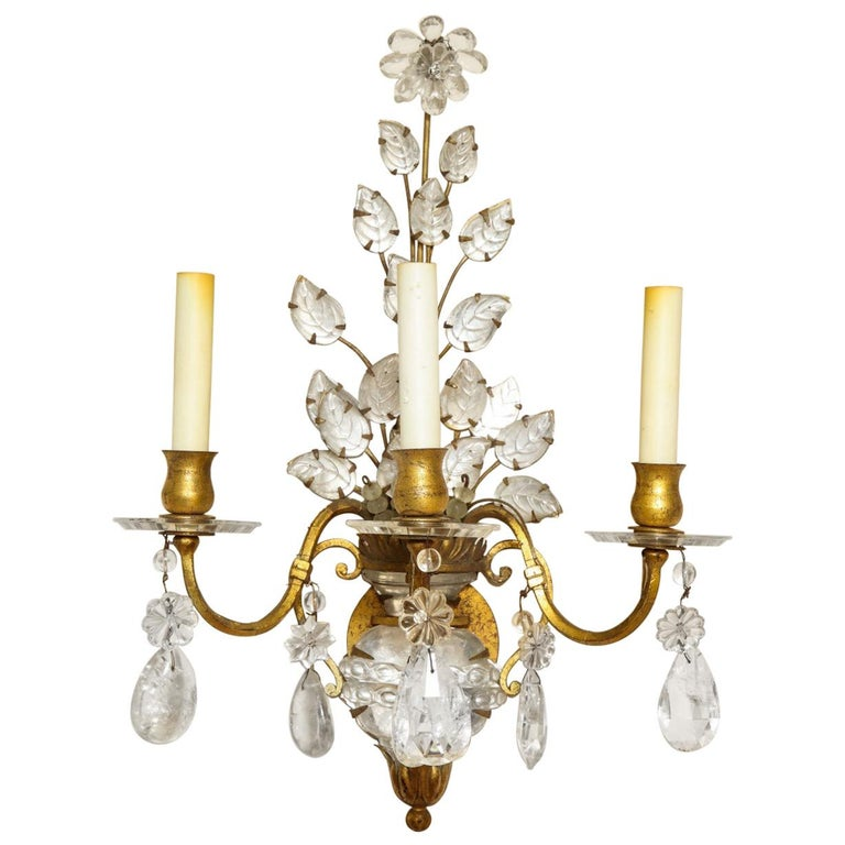 Three-Light Gilt Metal Sconce For Sale