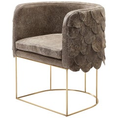 Leather and Brass Contemporary Falcon Tub Chair by Egg Designs